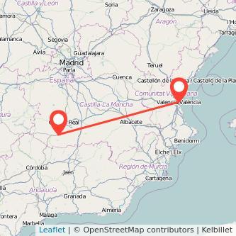 Mapa del viaje Valencia Puertollano en bus