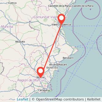 Mapa del viaje Valencia Murcia en bus