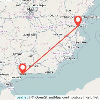 Mapa del viaje Valencia Málaga en tren
