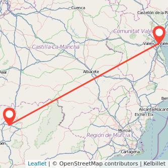 Mapa del viaje Valencia Linares en bus