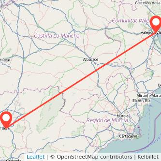 Mapa del viaje Valencia Jaén en bus