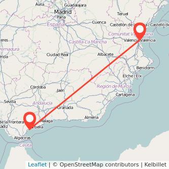 Mapa del viaje Valencia Estepona en bus