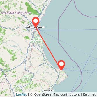 Mapa del viaje Valencia Denia en bus