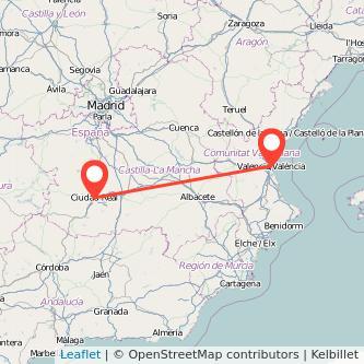Mapa del viaje Valencia Ciudad Real en tren
