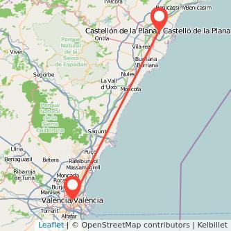 Mapa del viaje Valencia Castellón en bus