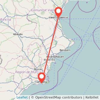 Mapa del viaje Valencia Cartagena en tren