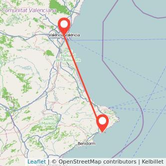 Mapa del viaje Valencia Calpe en bus