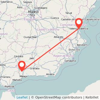 Mapa del viaje Valencia Antequera en tren
