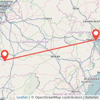 Mapa del viaje Valencia Almagro en bus