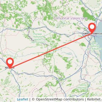 Mapa del viaje Valencia Albacete en tren