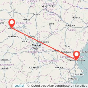 Mapa del viaje Valencia Zamora en tren