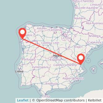 Mapa del viaje Valencia Vigo en tren