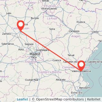 Mapa del viaje Valencia Valladolid en tren