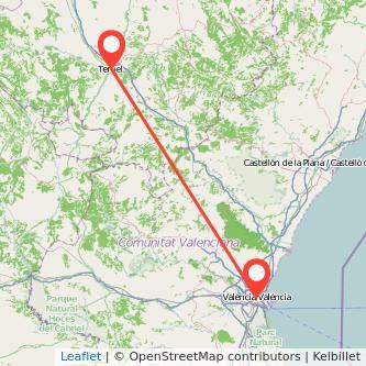 Mapa del viaje Valencia Teruel en bus