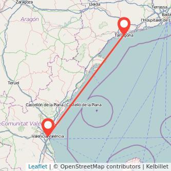 Mapa del viaje Valencia Tarragona en tren