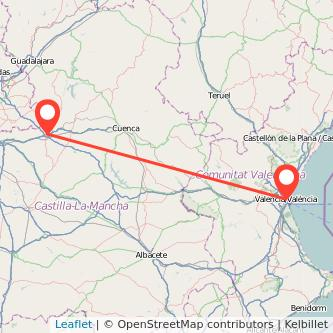 Mapa del viaje Valencia Tarancón en bus