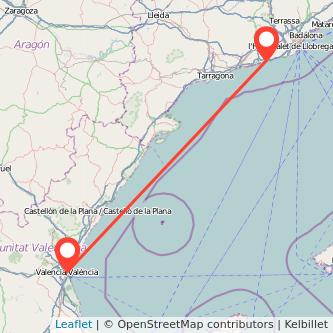 Mapa del viaje Valencia Sitges en tren
