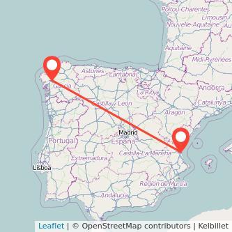 Mapa del viaje Valencia Santiago de Compostela en tren