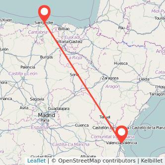 Mapa del viaje Valencia Santander en tren