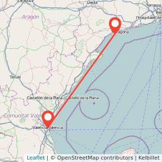 Mapa del viaje Valencia Salou - Port Aventura en tren