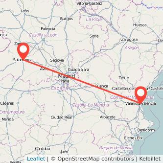 Mapa del viaje Valencia Salamanca en tren