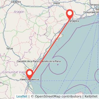 Mapa del viaje Valencia Reus en tren