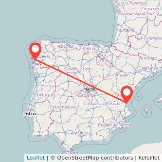Mapa del viaje Valencia Pontevedra en tren