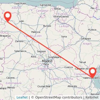 Mapa del viaje Valencia Ponferrada en bus