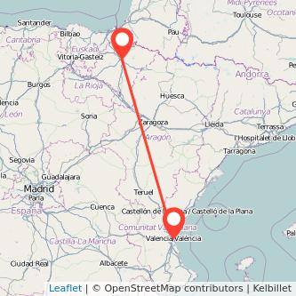 Mapa del viaje Valencia Pamplona en tren