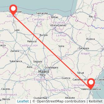Mapa del viaje Valencia Oviedo en tren
