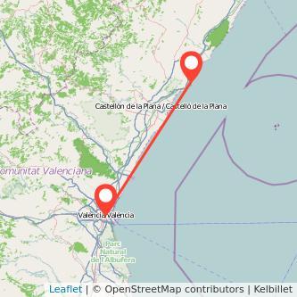 Mapa del viaje Valencia Orpesa/Oropesa del Mar en tren
