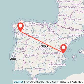 Mapa del viaje Valencia Ourense en tren