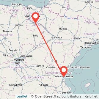 Mapa del viaje Valencia Logroño en tren