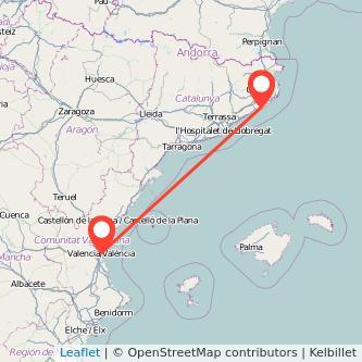 Mapa del viaje Valencia Lloret de Mar en bus