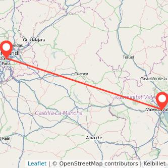Mapa del viaje Valencia Leganés en tren