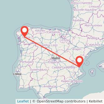 Mapa del viaje Valencia Lalín en bus