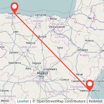 Mapa del viaje Valencia Gijón en tren