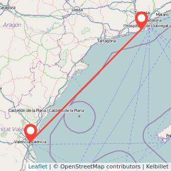 Mapa del viaje Valencia Gavà en tren