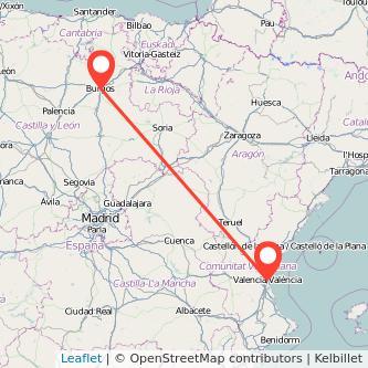 Mapa del viaje Valencia Burgos en tren