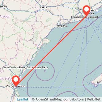 Mapa del viaje Valencia Barcelona en tren