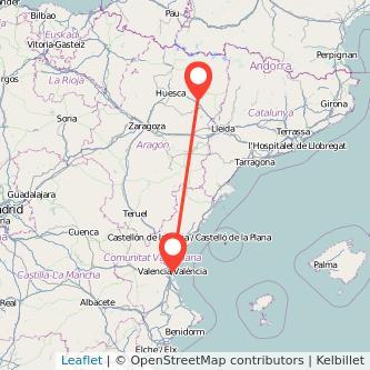 Mapa del viaje Valencia Barbastro en bus