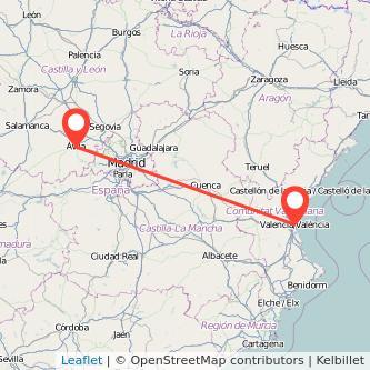 Mapa del viaje Valencia Ávila en tren