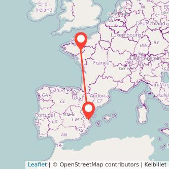 Mapa del viaje Valencia Rennes en bus