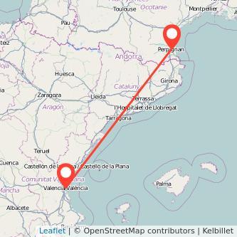 Mapa del viaje Valencia Perpignan en bus