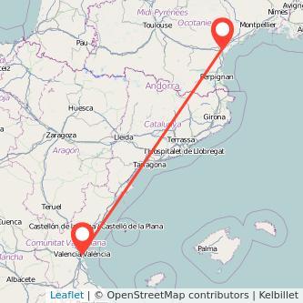 Mapa del viaje Valencia Narbonne en tren