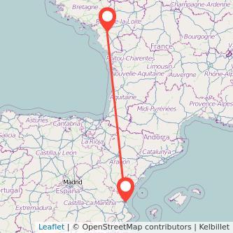 Mapa del viaje Valencia Nantes en bus