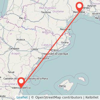 Mapa del viaje Valencia Montpellier en bus