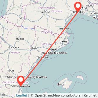 Mapa del viaje Valencia Montpellier en tren