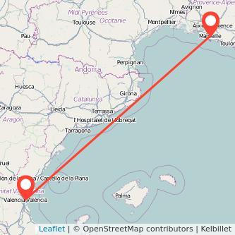 Mapa del viaje Valencia Marseille en tren
