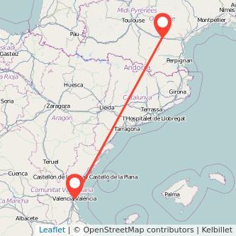 Mapa del viaje Valencia Carcasona en tren